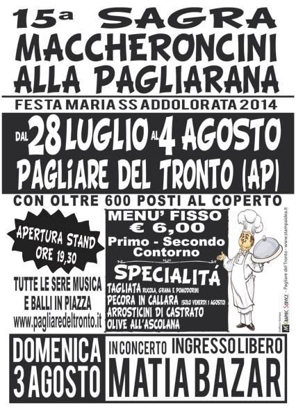 Sagra dei maccheroncini alla pagliarana provincia Ascoli Piceno