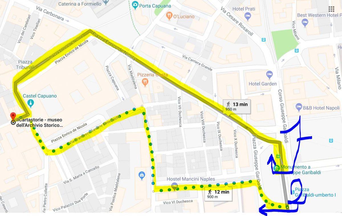 google maps Come arrivare all'Archivio Storico del Banco di Napoli